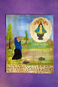 Mexican tin art painting. (exvoto)