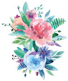 Watercolor bouquet vector clip art vector art illustration