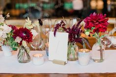 A Romantic Country Wedding in Blue Hill at Stone Barns in Tarrytown, New York Winter Wedding Ceremonies, Winter Wedding Flowers, Fall Wedding Colors, Fall Flowers, Floral Wedding, Rustic Wedding, Vase Centerpieces, Bud Vases, Dahlia Bouquet