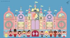 In honor of the Anniversary of Disney's It's A Small World. This illustration is based on the Disneyland Paris version of the attraction with some . It's A Small World After All. Disney Cast, Disney Pop, Baby Disney, Disney Magic, Disney Parks, Mary Blair, Disney Paintings, World Crafts, Elephant Nursery