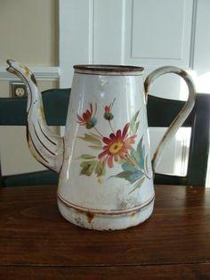 French Antique Coffee Pot Enamelware by QuelJoliReveAntiques, $135.00