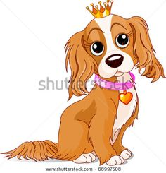 Cavalier King Charles Spaniel with crown - stock vector