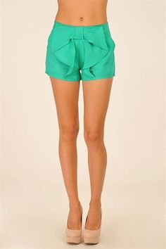 Teal bow shorts