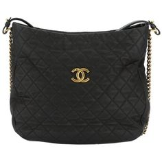 Chanel Chanel Black Quilted Caviar Hobo (396878501) ($2,600) ❤ liked on Polyvore featuring bags, handbags, shoulder bags, no color, vintage leather purses, shoulder handbags, quilted leather handbags, vintage leather handbags and handbags shoulder bags