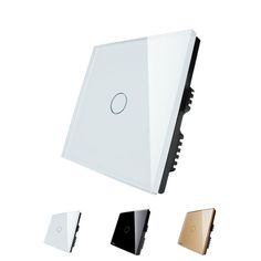 Free Shipping Wholesaler Livolo UK standad Wall switch 1 gang 1 way Crystal Glass Panel Switch, Digital Light Touch Switch