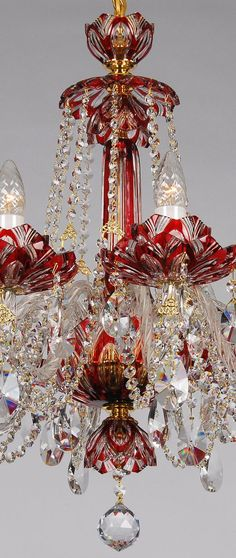 Exquisite chandelier made in Czech, famous for bohemian crystal. Red Chandelier, Antique Chandelier, Antique Lighting, Chandelier Lighting, Bohemian Lighting, Bohemian Decor, Pretty Lights, Beautiful Lights, Glass Flowers