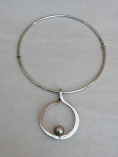MODERNIST STERLING SILVER PENDANT NECKLACE by PUIG DORIA SPAIN