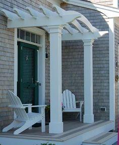 Veranda Pergola, Front Porch Pergola, Garage Pergola, Curved Pergola, Cheap Pergola, Front Yard Landscaping, Front Porches, Pergola Lighting, Front Yards