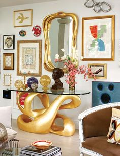 John Oetgen and John Lineweaver's Atlanta home - a bimorphic console is a Duquette original, purchased from his estate;  art by Picasso, Lichtenstein, Warhol, Koons, and Oetgen.
