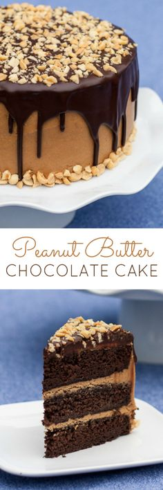 Moist chocolate cake layered with smooth peanut buttery goodness and topped with…