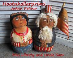 Miss Liberty and Uncle Sam  primitive doll,  folk art doll www.facebook.com/HootnhollarprimsByJoannPalmer