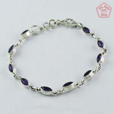 Blue Topaz Stone Sparkling Design 925 Solid Sterling Silver Bracelet Ebay Pinterest Bracelets