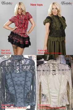 Star shirt in red tartan, olive chiffon Katie shirt and two Margaret tops that are only available in Burleska Boutique in Camden Stables Market, London NW1 8AH