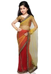 Red and Yellow Net SAree with Blouse