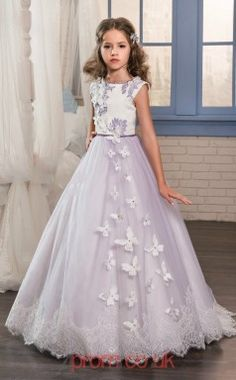 Flower Girl Dresses Tea Length Flower Girl Dresses White Appliques O Neck Long Sleeves Lace Kids Flower Girl Dresses Abendkleider Kinder Reliable Performance Wedding Party Dress