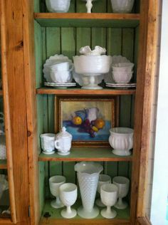 Milk Glass Collection and Leigh Campion Painting