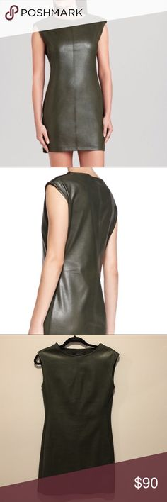 BCBG MAXAZRIA Olive Leather Dress! Size XS BCBG MAXAZRIA Olive Leather Dress! Size XS, NWT, Dare To Rock This Dress! Olive Green Soft Leather, Side has Elastic Stretch For Comfort, Stunning Dress! Rock it w/ Heels! BCBGMaxAzria Dresses Mini