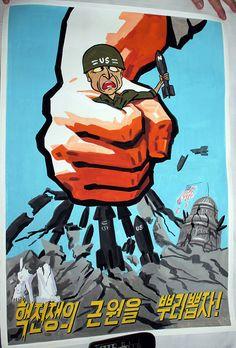 Anti-US North Korean Propaganda Poster Inside North Korea, Life In North Korea, The Power Of Myth, English Projects, Propaganda Art, Korean People, Korean Art, Communism, Military Art