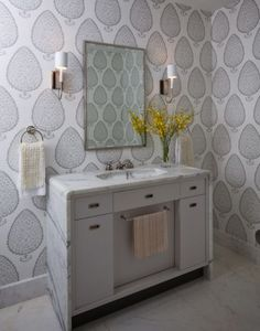 Katie Ridder wallpaper  Gorgeous marble waterfall vanity