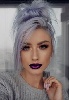 17 Best Purple Lipstick Shades for the Born to the Purple Make-up Lila Lippen M. 17 Best Purple Lipstick Shades for the Born to the Purple Make-up Lila Lippen M. 17 Best Purple Lipstick Shades for Winter Hairstyles, Pretty Hairstyles, Grey Hairstyle, Scene Hairstyles, Fashion Hairstyles, Hairstyles 2018, Weave Hairstyles, Hairstyle Ideas, Cool Hair Color