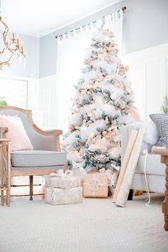 Blush and gray Christmas  tree decor. beautiful rose gold tones, white snow , grey
