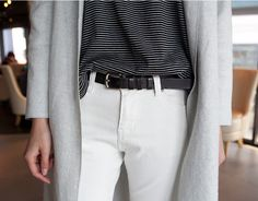 Striped tee & white