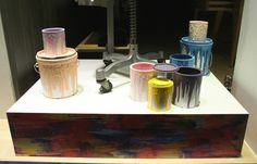 Created by Tenn Ltd For John Smedley - The Artistry Of Knit Window. Hand Dripped Paint Pots