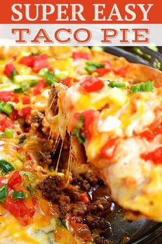 You Can Make This Super Easy Taco Pie Tonight This Mexican Layered Pizza Is Easy To Make, Budget-Friendly, And Kid-Friendly Too The Perfect Dinner Any Night Of The Week This Is A Mexican Inspired Dish The Whole Family Will Love Taco Pie Recipes, Easy Casserole Recipes, Easy Dinner Recipes, Vegetarian Recipes, Easy Meals, Cooking Recipes, Healthy Recipes, Taco Bake Casserole, Taco Casserole With Tortillas