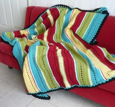 Pasadena Stripes Crocheted Afghan by OneCreativeFamily on Etsy