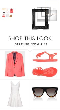"""coral work outfit"" by mb3tty on Polyvore featuring PS Paul Smith, Karen Millen, CÉLINE, Miu Miu, Polaroid and Linda Horn"