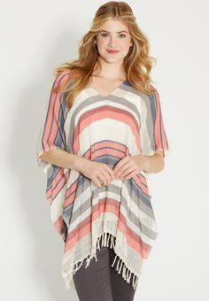 striped poncho with fringe (original price, $29.00) available at #Maurices