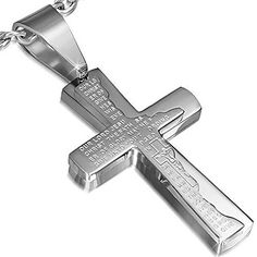 Stainless Steel SilverTone Cross Crucifix Prayer in English Pendant Necklace >>> Find out more about the great product at the image link.
