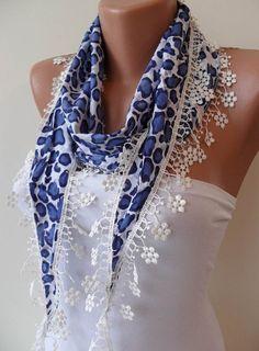 Dark Blue Leopard Shawl / Scarf with Lace Edge  by SwedishShop, $14.90