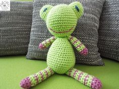 Stuffed Animals – Crochet frog – a unique product by JanickaM on DaWanda Stuffed Animals, Dinosaur Stuffed Animal, Crochet Frog, Plushies, Toys, Unique, Handmade, Toy, Games