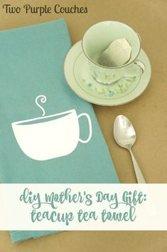 DIY Mother's Day Gift - Teacup Tea Towel  - Using Silhouette Cutting Machine and Heat Transfer Vinyl (HTV)