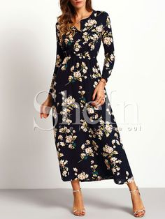 Long sleeve floral maxi dress in navy blue