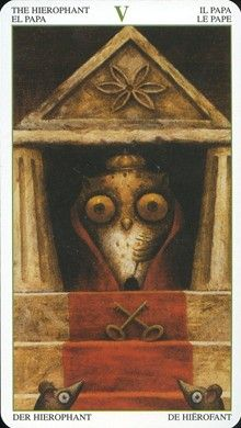 The Heirophant from theTarot of the Magical Forest.  This trump can indicate initiation into a secret doctrine.  When you receive the Heirophant ask yourself what traditions and religions you would like to become educated in?  What can this charming wise owl teach you?