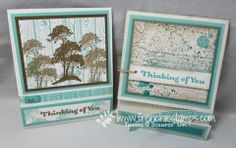 thinking of you perforated pull cards by France Martin (L) and Doris Kroh (R).... includes video tutorial