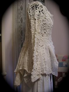 crochet doilies into jackets and sweaters | ... Coat, victorian, white cotton crocheted doilies, vintage upcycled
