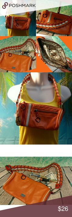 Orange Leather  Guess Shoulder Strap purse Sporty a fun with a nice stylish and thick strap. Gently used. Unnoticeable mark on back.  Couldn't even make it visible in photos. Otherwise in excellent new looking condition Guess Bags Shoulder Bags