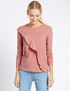 Approach the new season in style with our range of new-in clothing. Find skirts, trousers and tops for women in bold prints and contemporary cuts at M&S New Fashion, Womens Fashion, Bold Prints, Ruffle Top, Trousers, Pullover, Clothes For Women, Stylish, Skirts