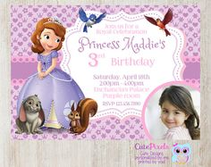 Disney jr sophia the first birthday party 5 printable invitation princess sofia invitation sofia the first invitation by cutepixels filmwisefo