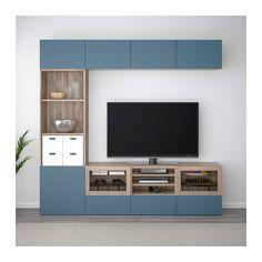 BESTÅ Combinaison rangt TV/vitrines - motif noyer teinté gris Valviken/bleu foncé verre transparent, glissière tiroir, fermeture silence - IKEA