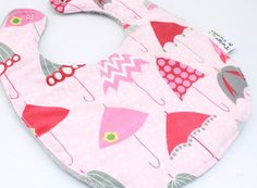Baby Girl Bib Umbrellas on Pink Silver