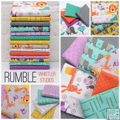 """Rumble by Whistler Studios - this collection has all the bright colors that are so """"in"""" right now, but also includes the up-and-coming-color """"orchid"""" (said to be the newest trend color - like turquoise) http://www.hawthornethreads.com/fabric/designer/whistler_studios/rumble/animal_rumble_in_multi"""