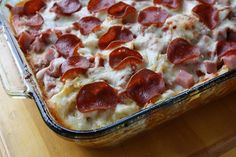 "Has been said to be the ""Best Recipe I've attempted from Pinterest. I've even made this twice. A little bit goes a long way so this note that this pan will feed many people or provide you with a lot of left overs.""   Pizza   Casserole"