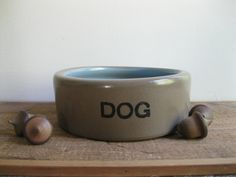 New Item! England-Vintage Dog Bowl Stoneware Crockery-Brown And Blue...Reshopgoods by Reshopgoods on Etsy