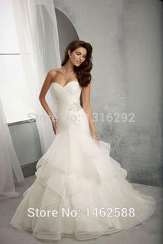 Robe De Mariage Elegant 2015 Pleated Sweetheart Bodice Corset White Organza  Ruffles Mermaid Wedding Dresses Sexy-in Wedding Dresses from Weddings    Events ... 79e98aac579d