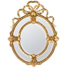 19th Century Bow-Crown French Mirror | From a unique collection of antique and modern wall mirrors at https://www.1stdibs.com/furniture/mirrors/wall-mirrors/