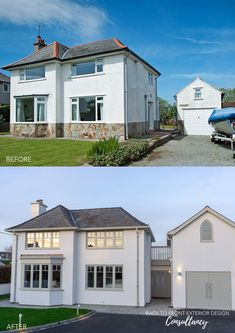 This seaside property has been visualised using existing architectural plans and considering where the kerb appeal can be improved. 1930s House Exterior, Bungalow Exterior, Bungalow Renovation, Exterior House Colors, Exterior Design, Home Exterior Makeover, Exterior Remodel, House Extension Design, House Design